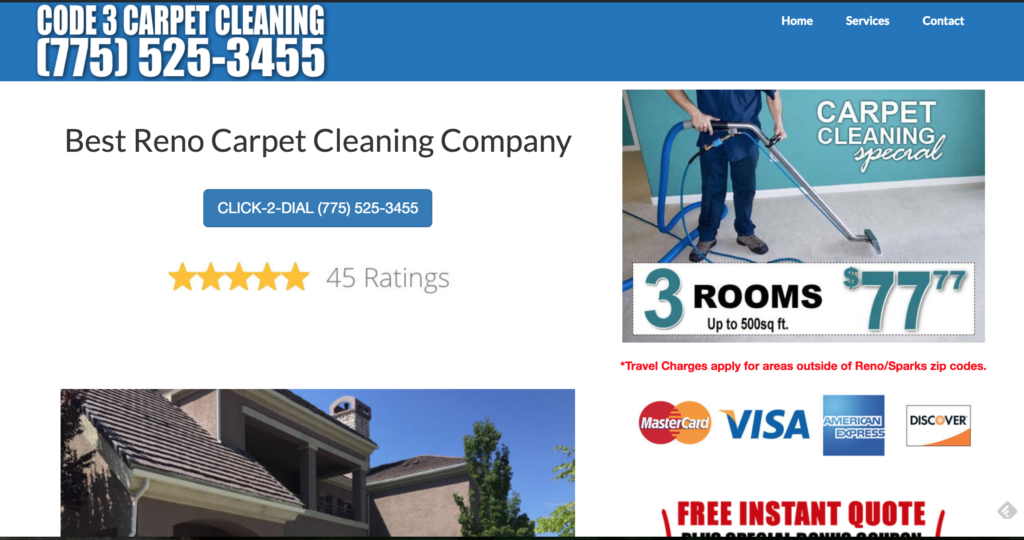 Reno Carpet Cleaning Company website example